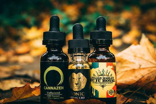 Three different types of CBD oil are shown side-by-side.