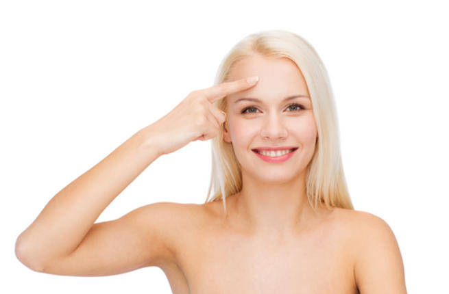 A woman with clear skin as might be achieved with a CBD oil treatment.