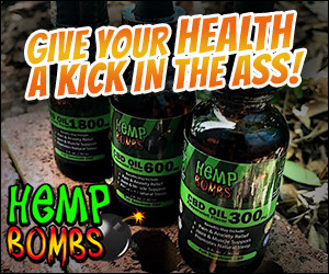 HempBombs logo and slogan.